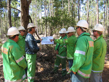 Pre-burn checklist briefing given prior to ignition to prescribed burn