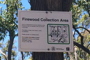 Firewood collection area sign