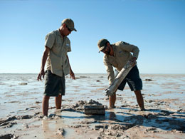 Indigenous rangers mud sampling at Roebuck Bay