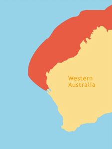 Graphic : Location Map of Hawksbill Turtles in Western Australia