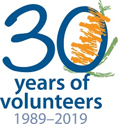 Parks and Wildlife Service 30 years of volunteering, 1989 to 2019 logo