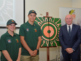 The photo shows Jasmine Hensley and Ethan Betts-Ingram from Mount Lawley presenting the painting to the Minister, Hon Stephen Dawson MLC.