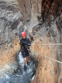 A Bush Ranger cadet from Onslow abseiling at Karijini National Park.