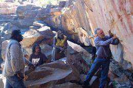 Rock art conservator Dave Lambert advises Ngarinyin traditional owners