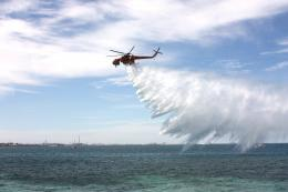 The air crane dropping water at Cockburn Sound