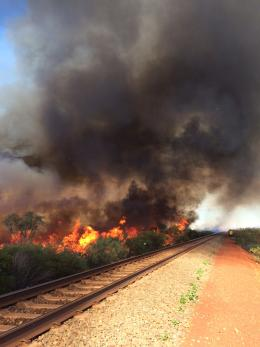 Prescribed burning by the rail line in Millstream Chichester NP