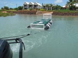 Towing the crocodile trap into place