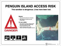 Visitor risk sign at Penguin Island and Mersey Point